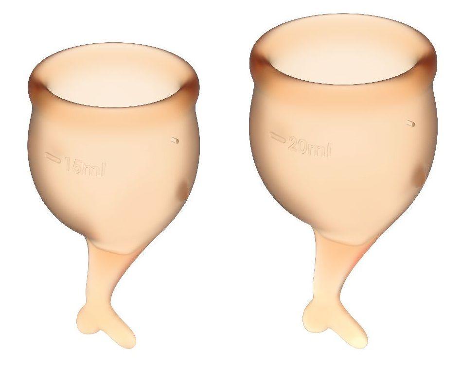 Набор оранжевых менструальных чаш Feel secure Menstrual Cup - фото 116073