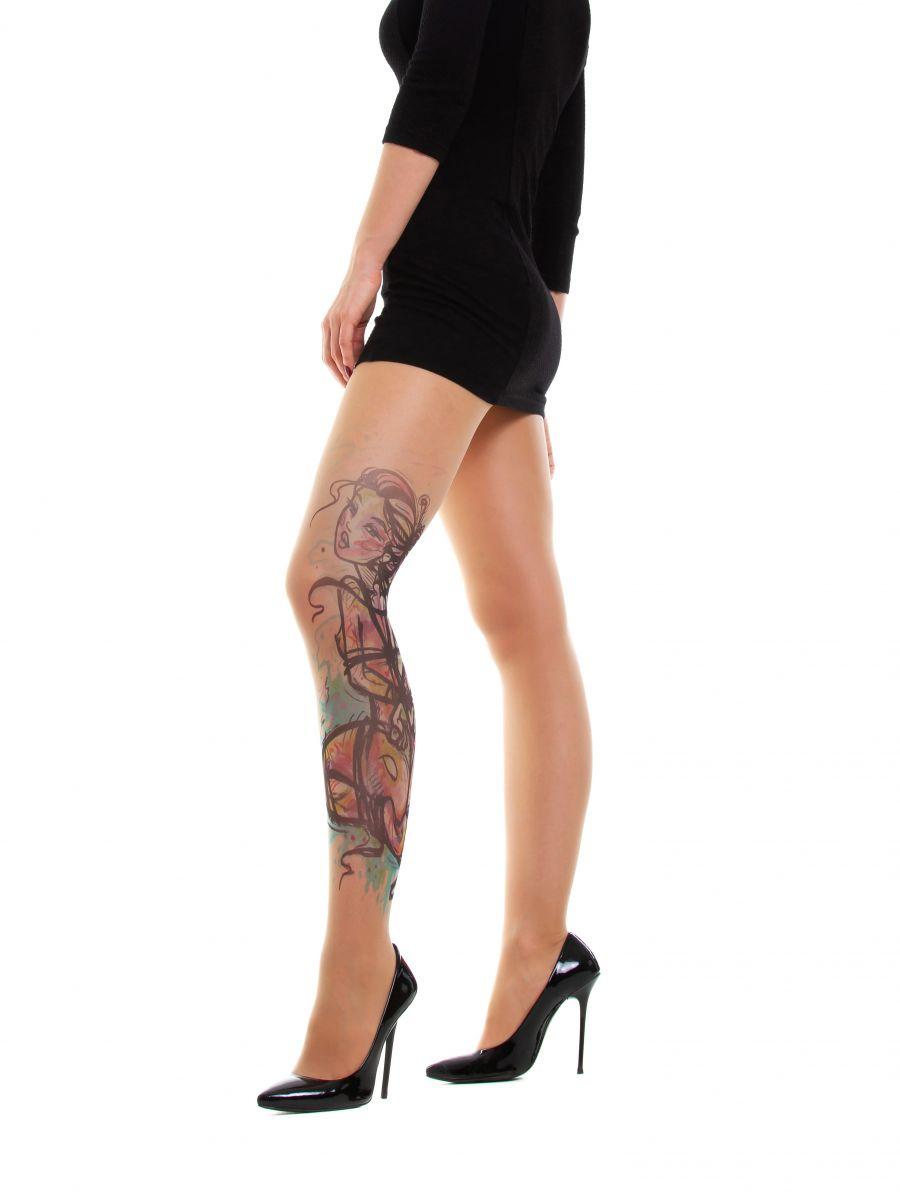 Колготки No isolation с имитацией тату в виде связанной девушки - фото 373985
