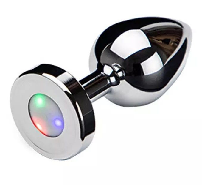 Серебристая анальная втулка со светодиодами - 8,7 см. - фото 265186