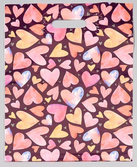 Подарочный пакет с сердечками - 31 х 40 см. - фото 376067