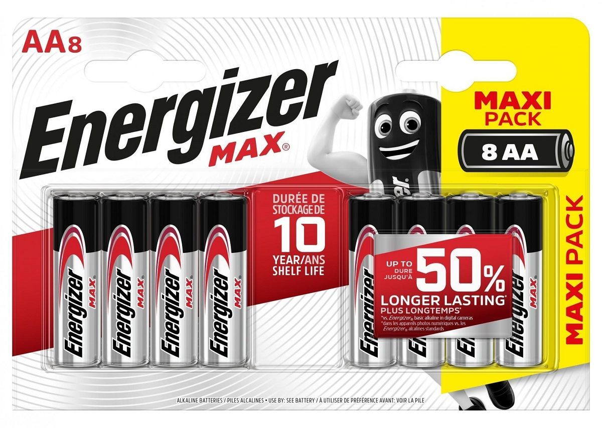 Батарейки Energizer MAX BP8 RU 1.5V типа АА - 8 шт. - фото 1251667