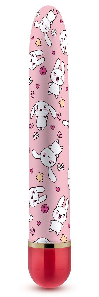 Яркий вибромассажёр с принтом Sweet Bunny - 17,8 см. - фото 273539