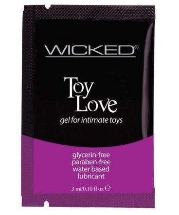 Лубрикант на водной основе для использования с игрушками WICKED Toy Love - 3 мл. - фото 103849