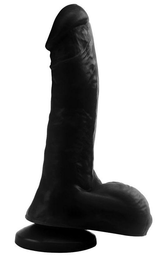 Черный фаллоимитатор Night Club Penis - 20 см. - фото 486161