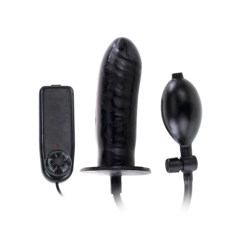 Чёрный расширяющийся анальный вибратор - 15,5 см. - фото 135399