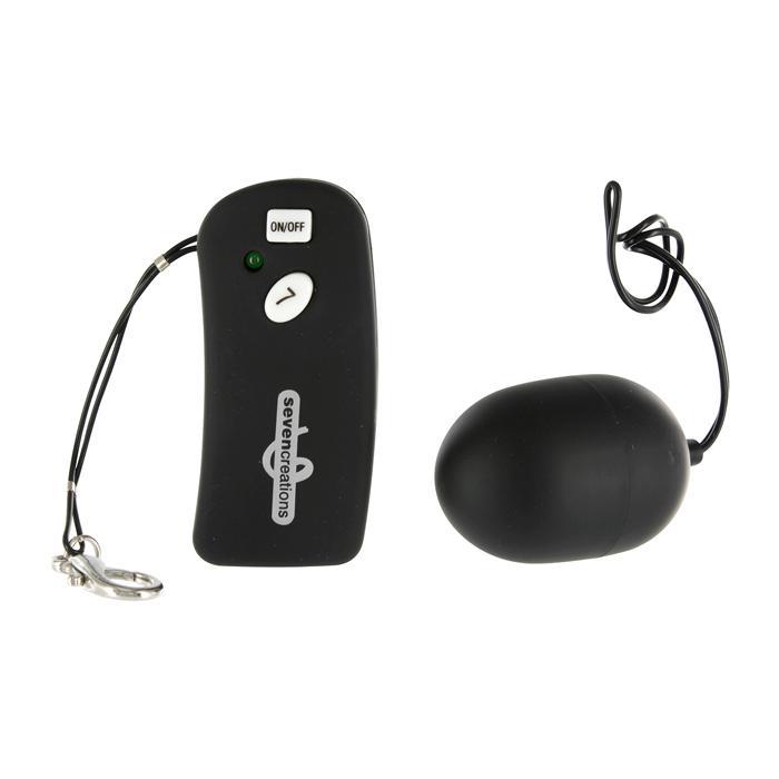 Чёрное виброяйцо с дистанционным управлением Ultra 7 Remote  - фото 135446