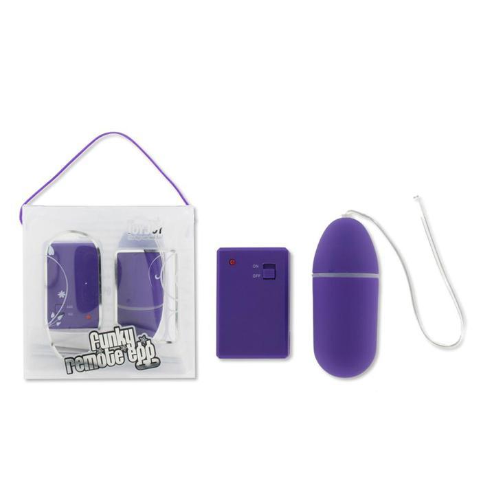 Фиолетовое виброяйцо Funky Remote Egg с дистанционным управлением - 7,5 см.  - фото 134922