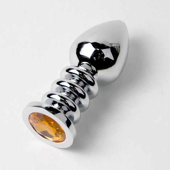 Большая серебристая анальная пробка с оранжевым кристаллом - 10 см. - фото 315460
