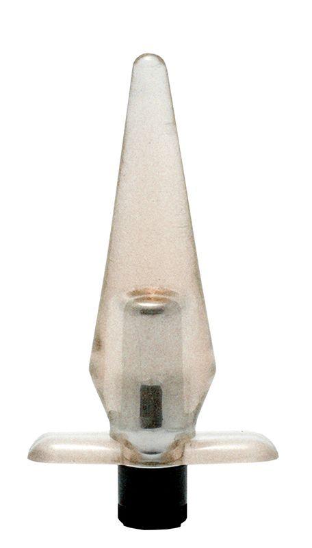 Дымчатая анальная пробка SLIMLINE BUTT PLUG с вибрацией - 12 см.
