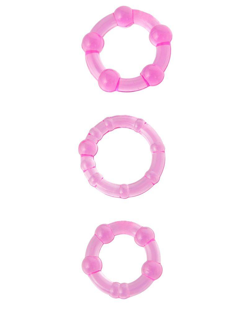 Набор из 3 стимулирующих эрекционных колец розового цвета