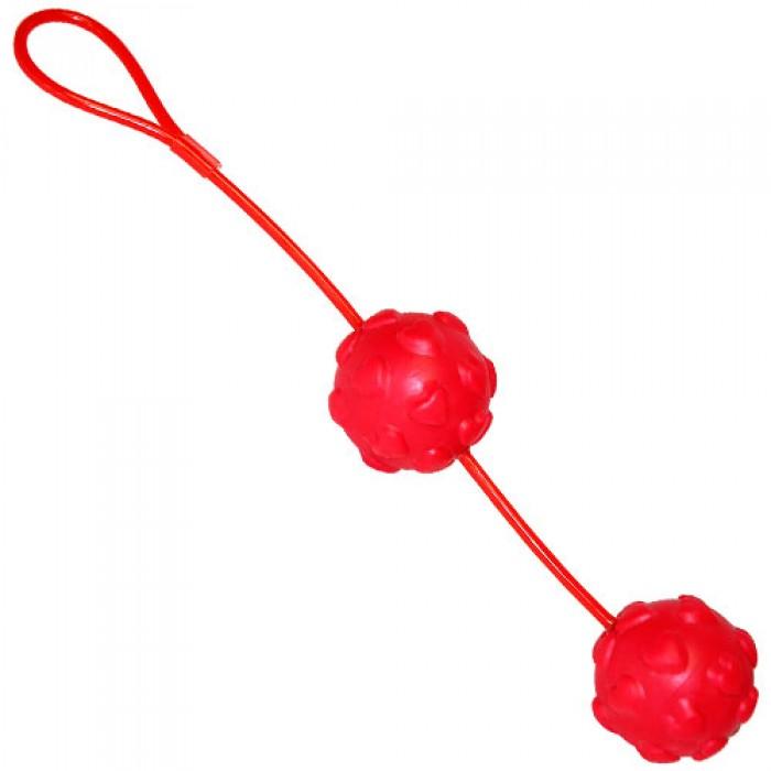 Красные вагинальные шарики из силикона Sweet Hearts Duo Loveballs  - фото 243150