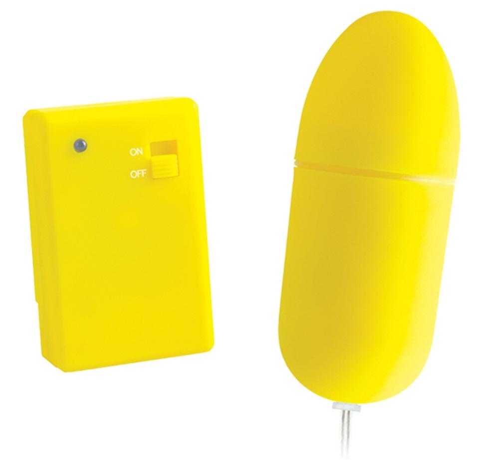 Жёлтое виброяйцо NEON RC BULLET с дистанционным управлением - фото 243311