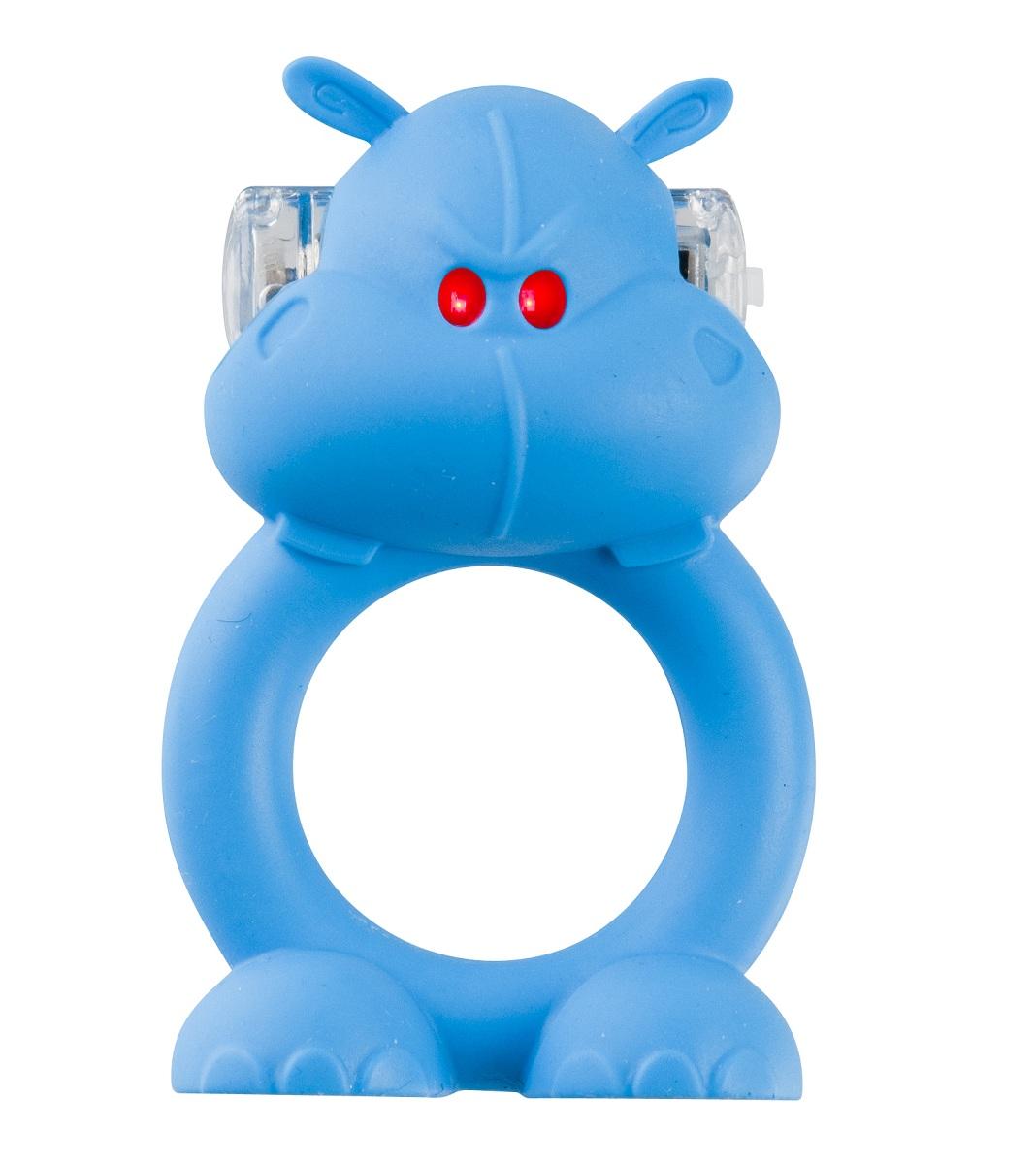 Голубое виброкольцо на пенис Happy Hippo - фото 135497