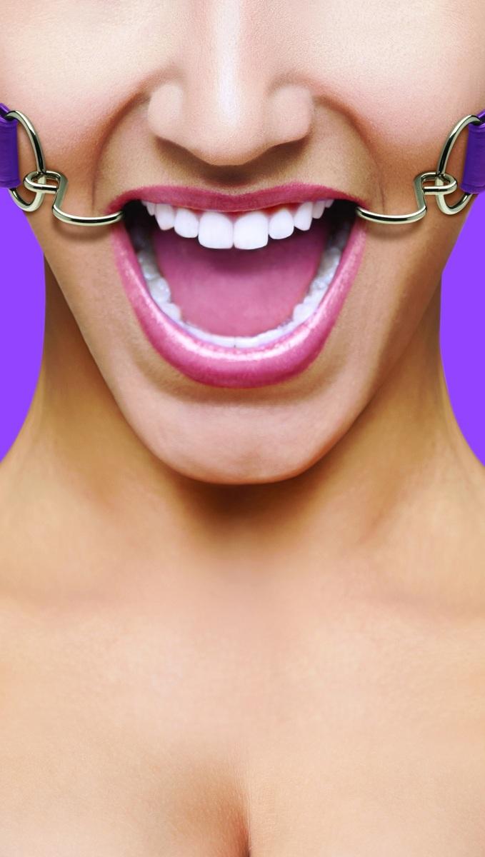 Фиолетовый расширяющий кляп Hook Gag - фото 135523