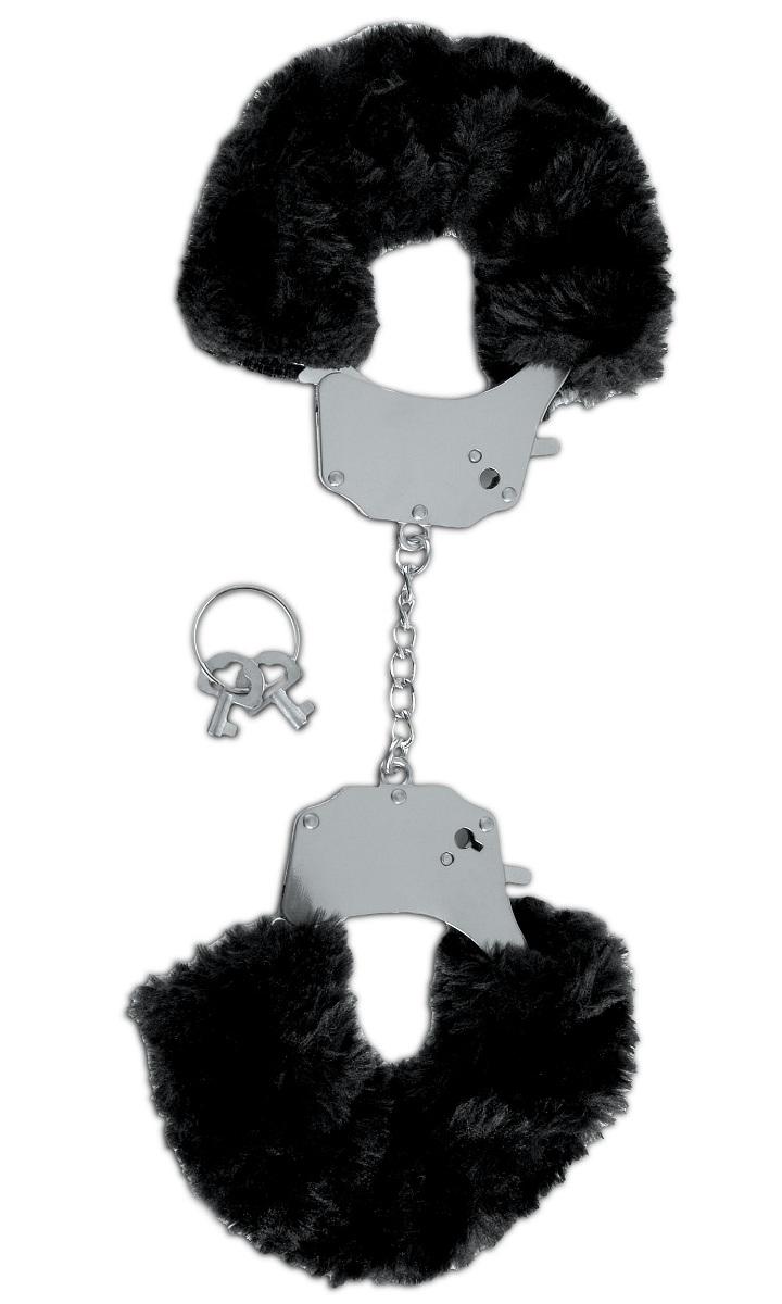 Металлические наручники с чёрным мехом