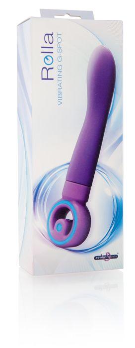 Фиолетовый вибратор для массажа G-точки - 22 см. - фото 243683