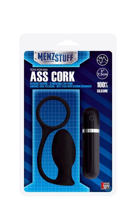 Чёрная вибровтулка MENZSTUFF ASS CORK SMALL - 7,5 см. - фото 135942