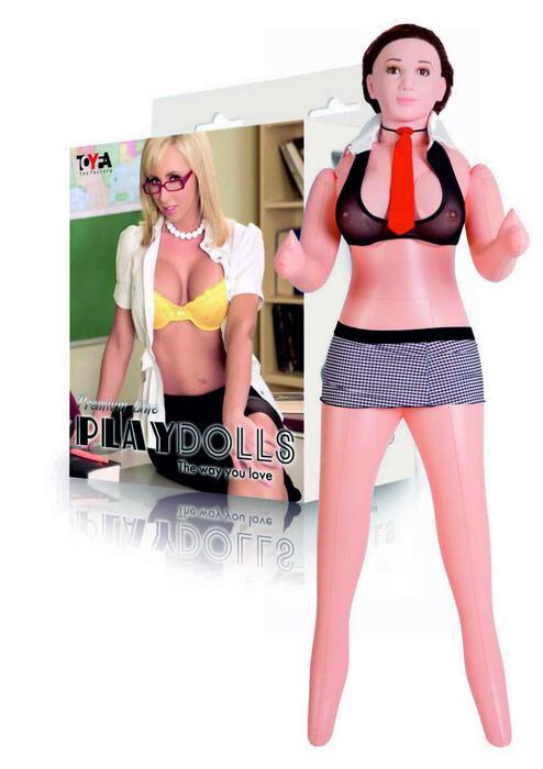 Надувная секс-кукла с реалистичной головой в костюме учительницы