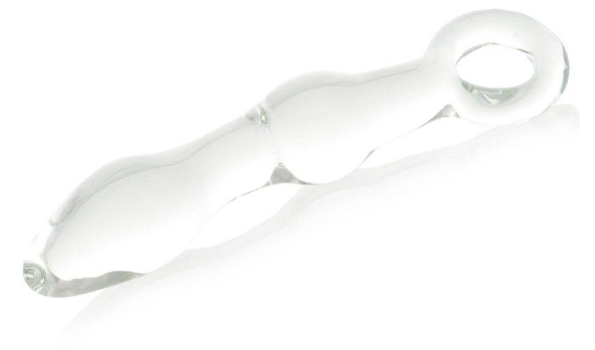 Стеклянная анальная втулка с ручкой-кольцом - 18 см.
