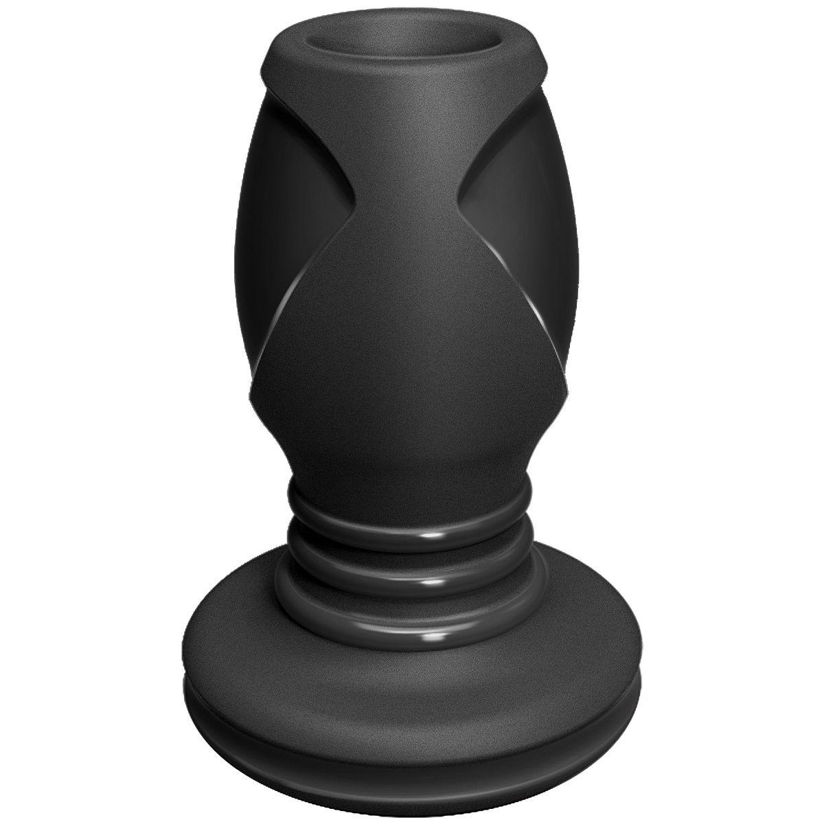 Чёрная анальная пробка с отверстием The Stretch Medium - 10,7 см. - фото 135997