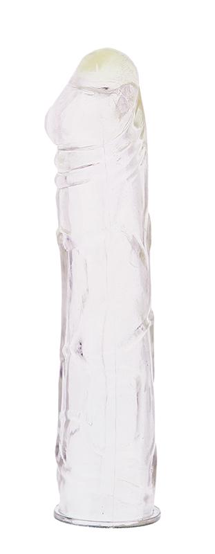 Закрытая прозрачная насадка на пенис - 16,5 см.