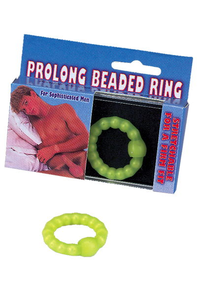 Салатное эрекционное кольцо с бусинами - фото 1652029