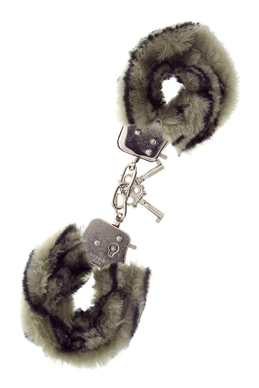 Металлические наручники с чёрно-серой меховой опушкой - фото 1516115