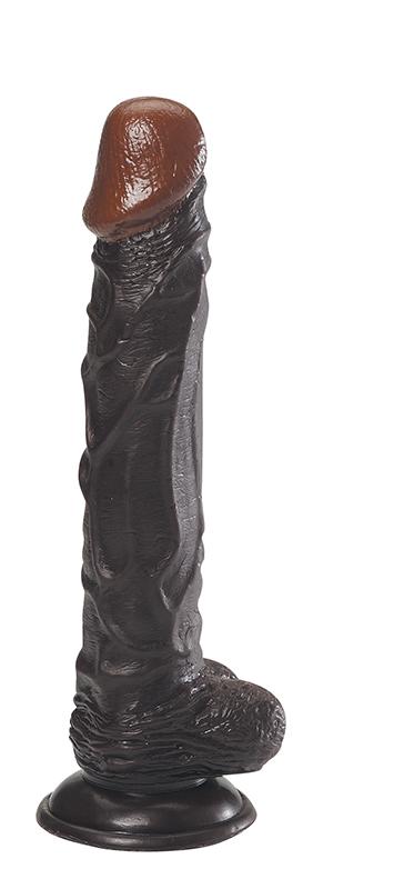 Чёрный фаллоимитатор на присоске - 24,1 см.