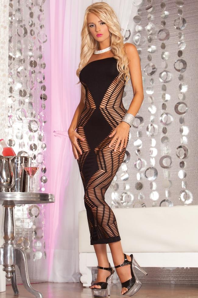 Бесшовное длинное платье-сетка с зигзагами ZIG-ZAG-ZIG SEAMLESS DRESS - фото 244065