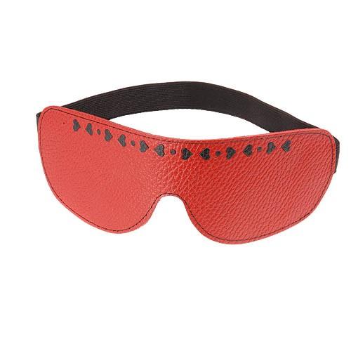 Красная кожаная маска с сердечками и велюровой подкладкой - фото 453082