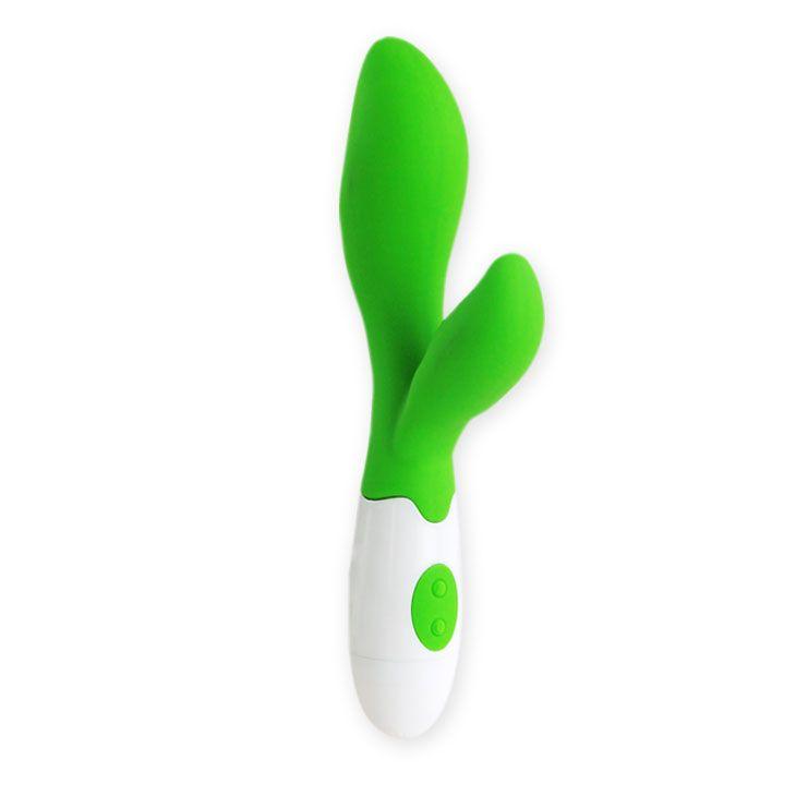 Зеленый вибратор Owen с клиторальным отростком - 20 см. - фото 137082