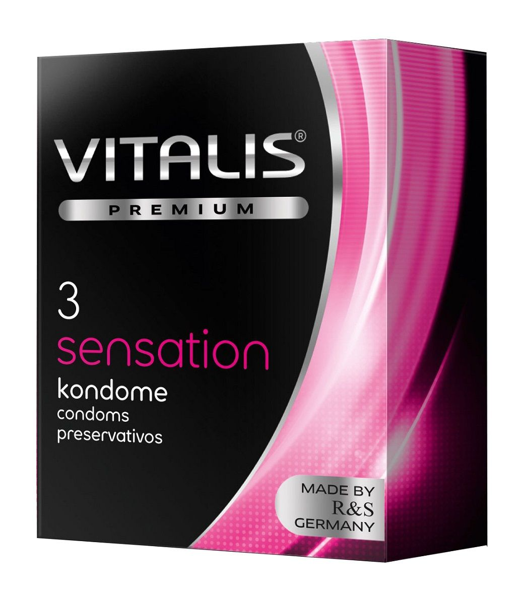 Презервативы с пупырышками и кольцами VITALIS PREMIUM sensation - 3 шт.
