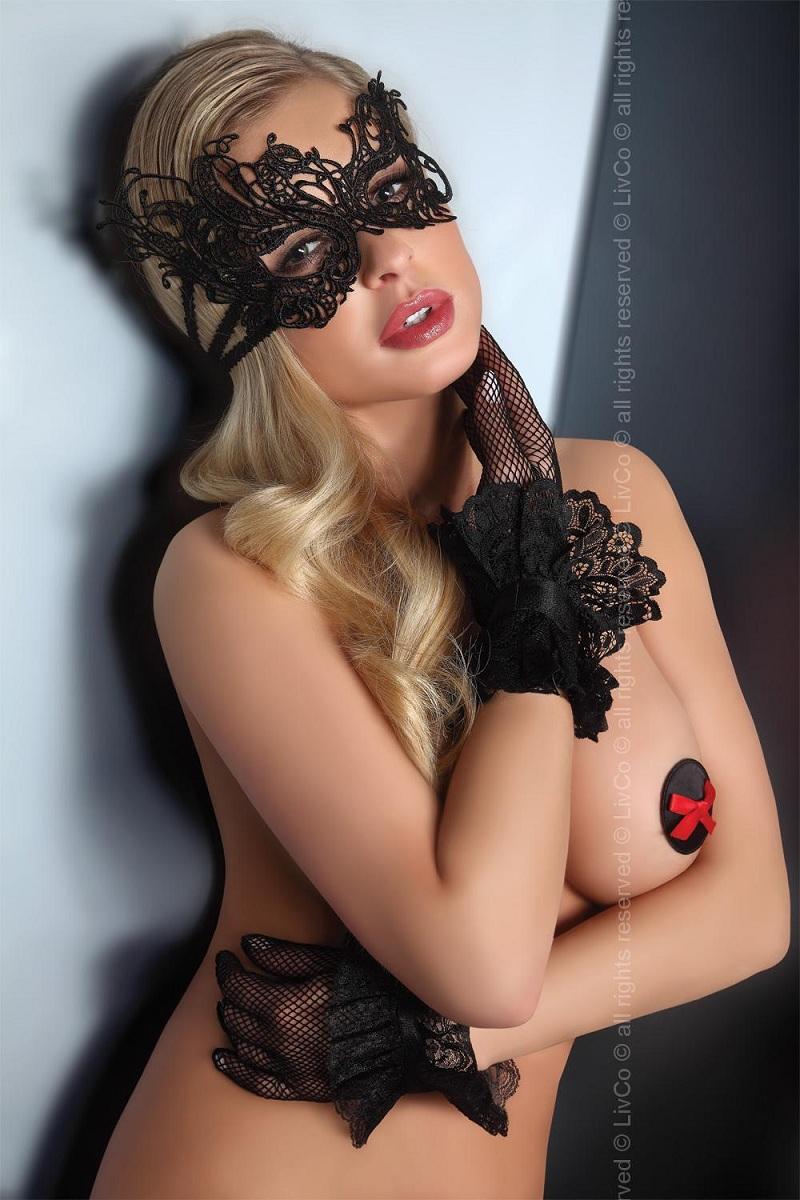 Изысканная чёрная маска на глаза - фото 256747