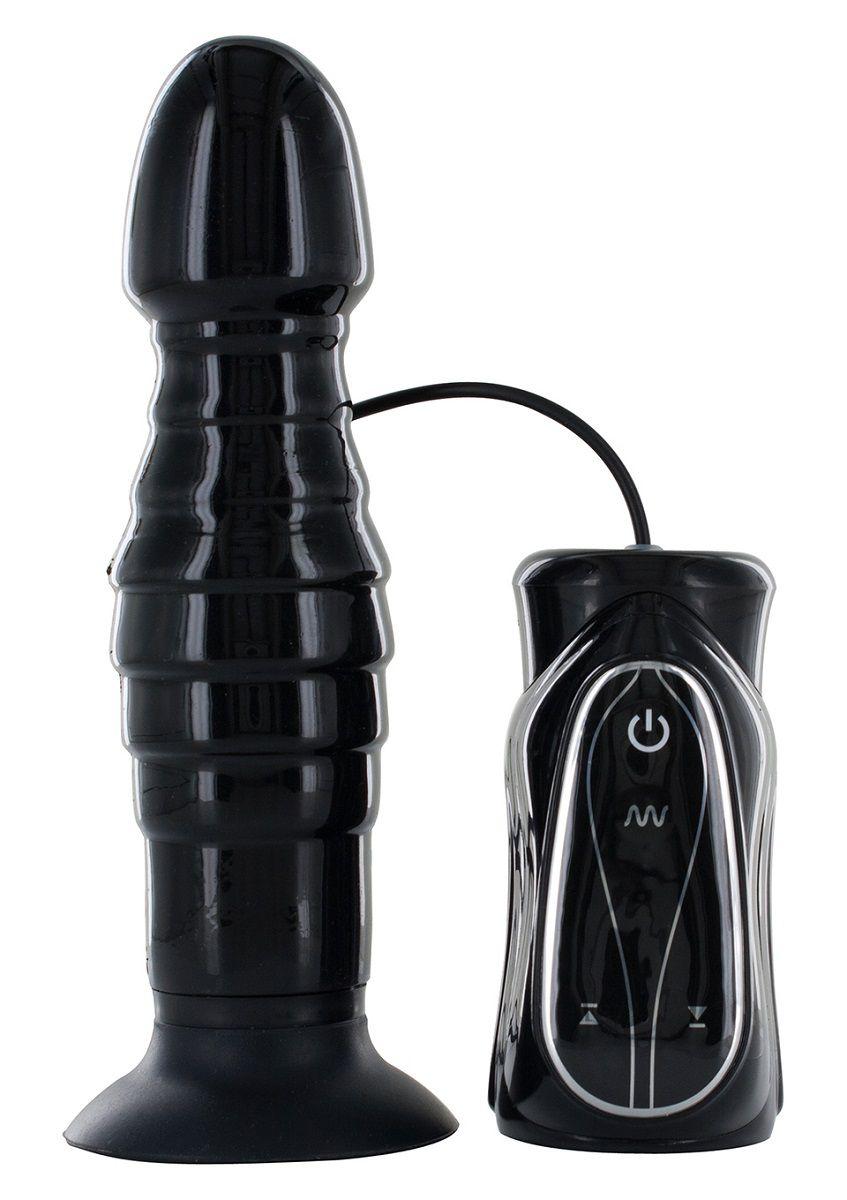 Чёрный анальный стимулятор с вибрацией THRUSTING BLACK - 17,5 см. - фото 529567