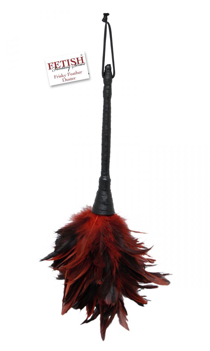 Кисточка с красно-чёрными пёрышками FRISKY FEATHER DUSTER - 36 см. - фото 137276