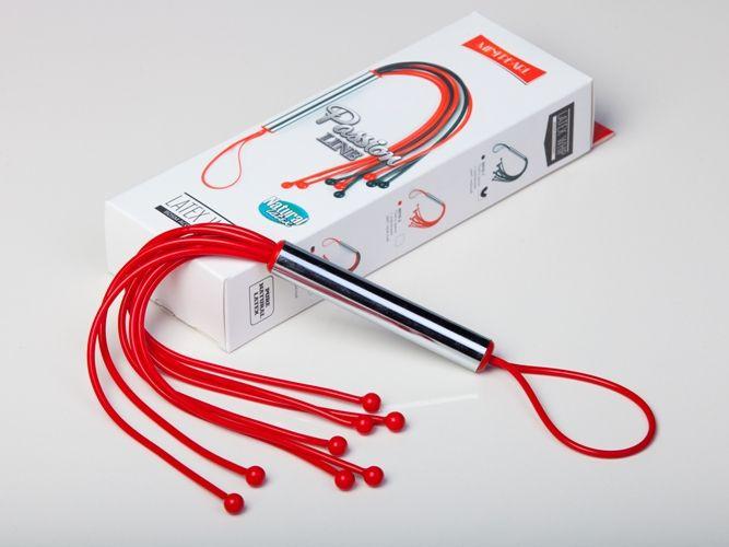 Красная резиновая плеть с 8 хлыстами - 35 см. - фото 137776