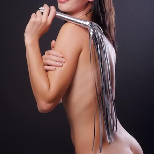 Серебристая плеть из искусственной кожи - 65 см. - фото 137449
