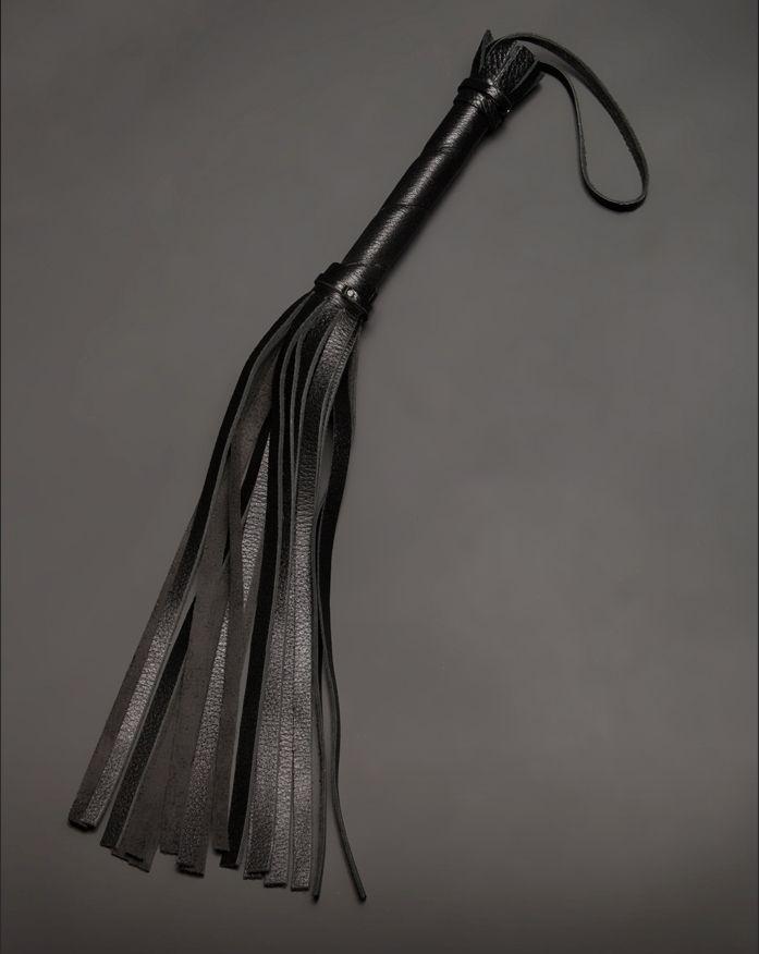 Чёрная кожаная плеть с 17 хвостами - 40 см.