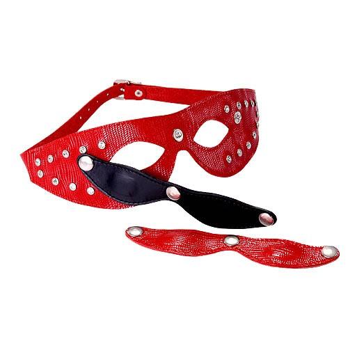 Красная кожаная маска со съёмными шорами - фото 137459