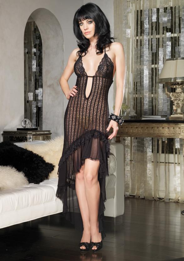 Длинное платье с асимметричным подолом - фото 244525
