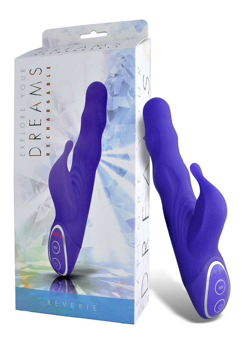 Фиолетовый вибромассажер с клиторальным стимулятором - 19 см. - фото 138002
