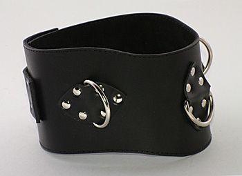 Не подшитый чёрный кожаный ошейник  - фото 529867
