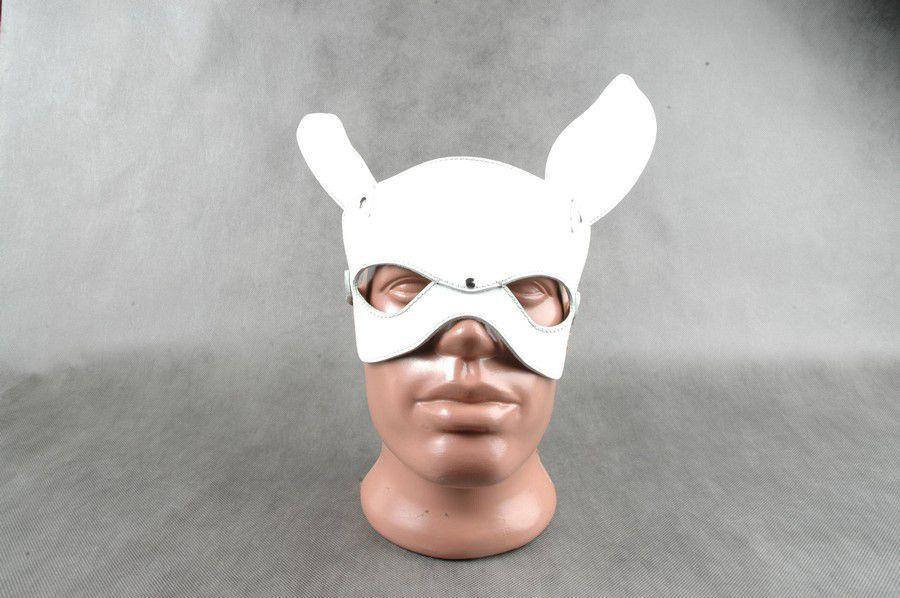Белая кожаная маска на верхнюю часть лица  Е-РАБбит  - фото 529883