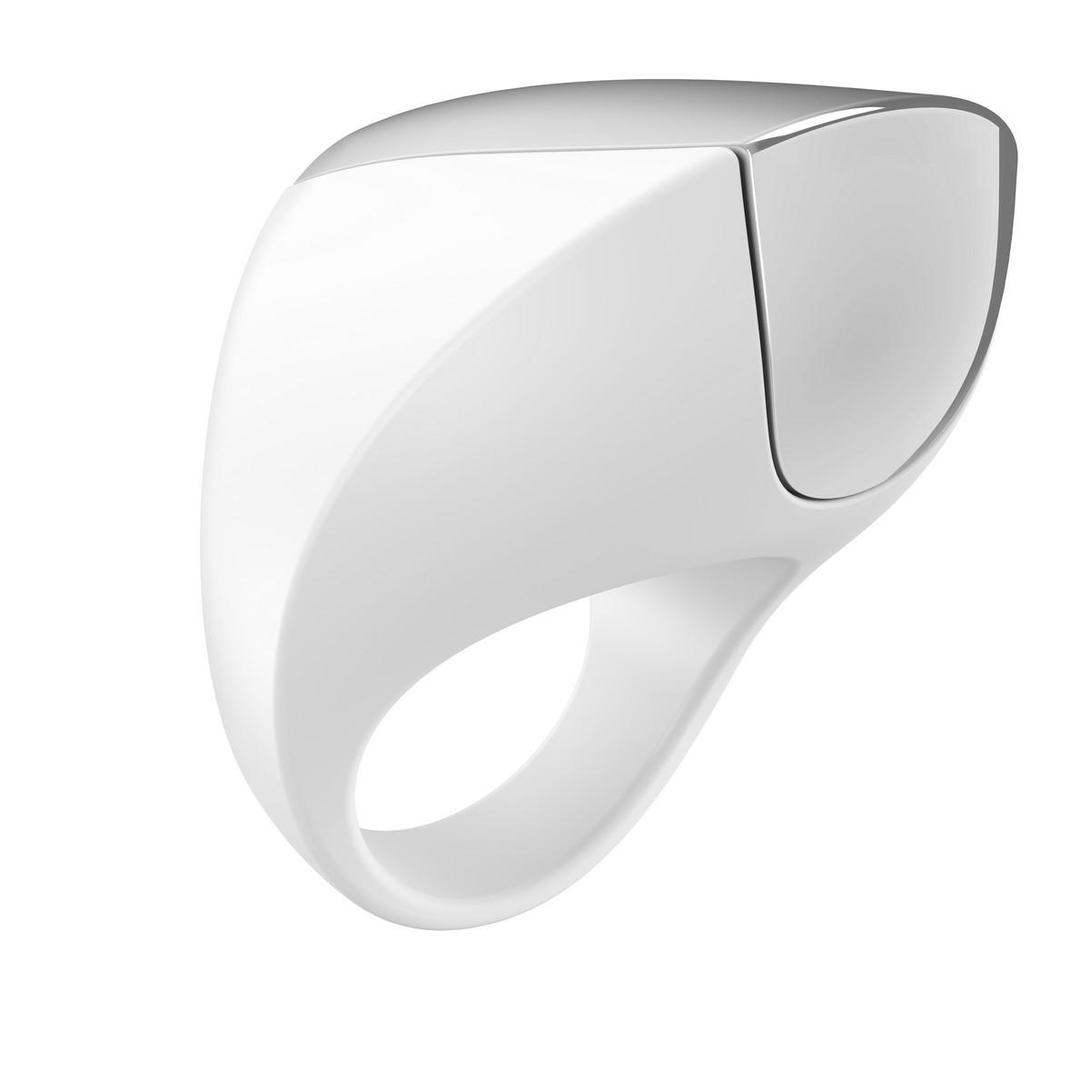 Белое перезаряжаемое эрекционное кольцо - фото 1149548