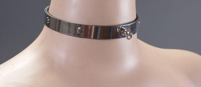 Узенький металлический ошейник с кольцом - фото 138006