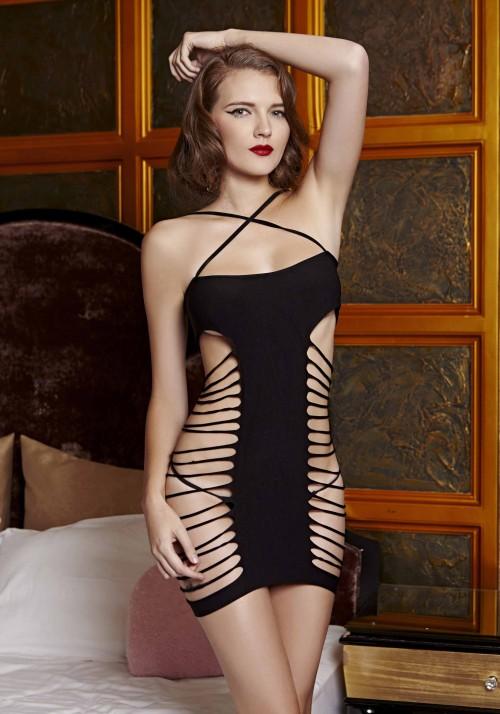 Прелестное платье с Т-образной непрозрачной частью - фото 716651