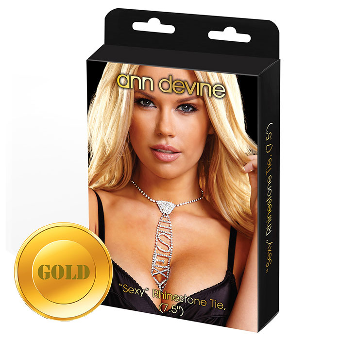 Золотистый галстук из кристаллов SEXY - фото 138088