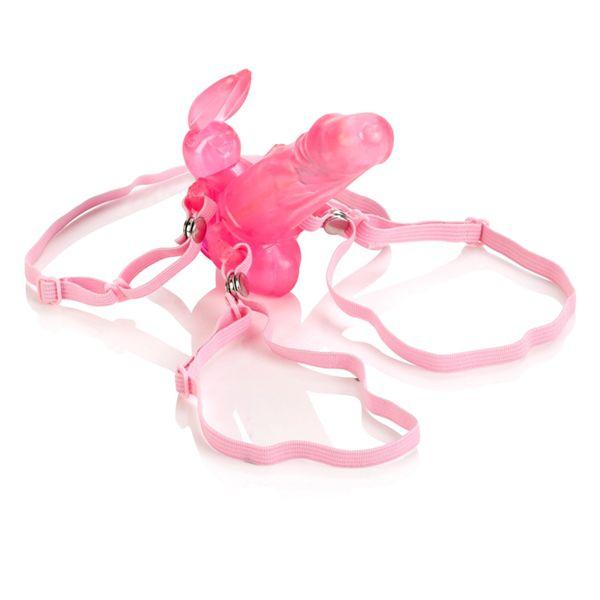 Розовая вагинальная пробочка с зайкой для клитора BUNNY - фото 293535