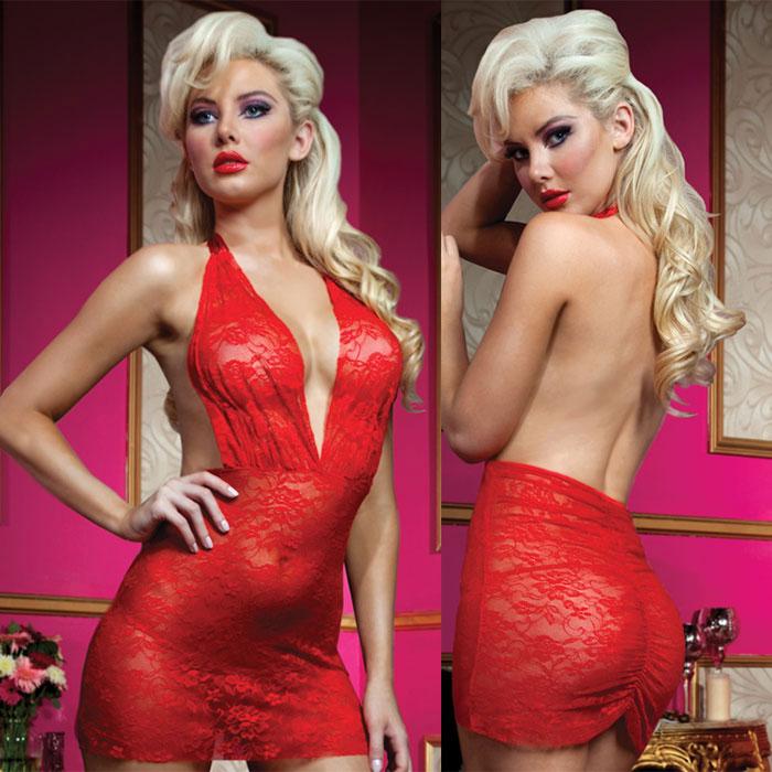 Роскошное мини-платье из кружева с трусиками - фото 562076