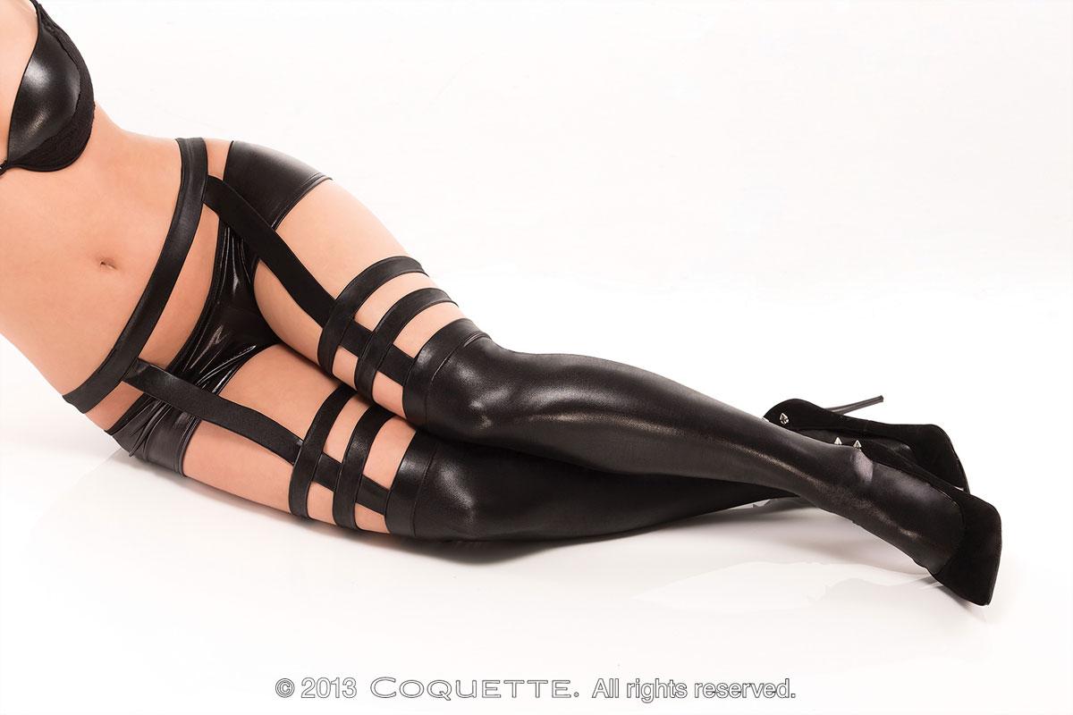 Дерзкие чулки с поясом и подвязками под кожу - фото 717263
